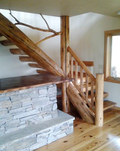 Driftwood Railing in Custom Home